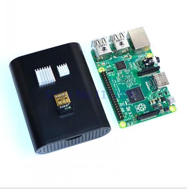 Пи малины 2 модель b broadcom bcm2836 1 g ram + черный п . и . чехол коробка + радиаторы + edup ep-n8508gs wi-fi адаптер