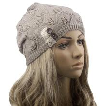Modern Lace Button Leaves Hollow Out Knitting Hat Fashion Accessories winter hats for women clothes,4 colors,free shipping Aug21(China (Mainland))