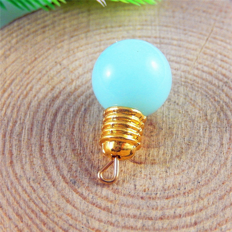 Wholesale 5pcs/pack Sky Blue Light Bulb Lamp Mini Charm Pendant Handmade Crafts Finding Hot Sale Resin Alloy Material(China (Mainland))