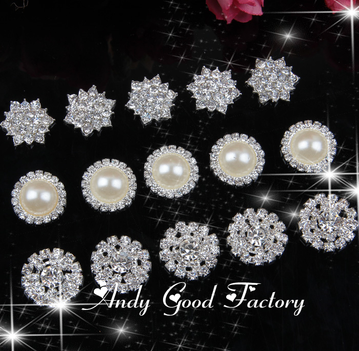 Trial Order 20pcs Mixed Loose Crystal Buttons for Craft Silver Metal Star Round Rhinestones Buttons Kids Hair Accessories PZ012(China (Mainland))