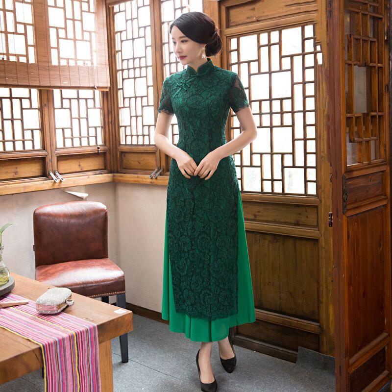 New Arrival Green Fashion Lace Rayon Long Cheongsam Chinese Women's Dress Elegant Qipao Vestidos Size S M L XL XXL C27368