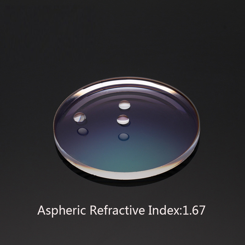 Prescription Eyeglasses Spectacle Customize Online Refractive Index 1.67 Aspheric Anti-Blue light/Hard Film Myopia Lens gd167js