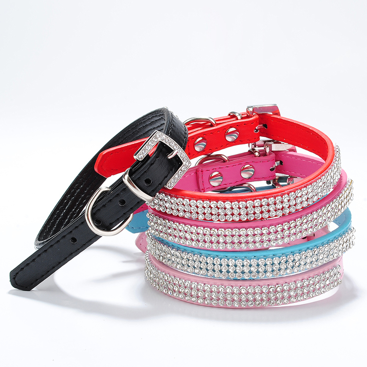 Pet Puppy Cat Dog Fashion Small Rhinestone PU Leather Collar for Cats and Dogs Free Shipping(China (Mainland))