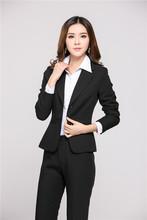 Plus Size 4XL New Professional Uniform Design 2015 Femininos Autumn Winter Business Office Work Wear Suits Pant Suits Pantsuits