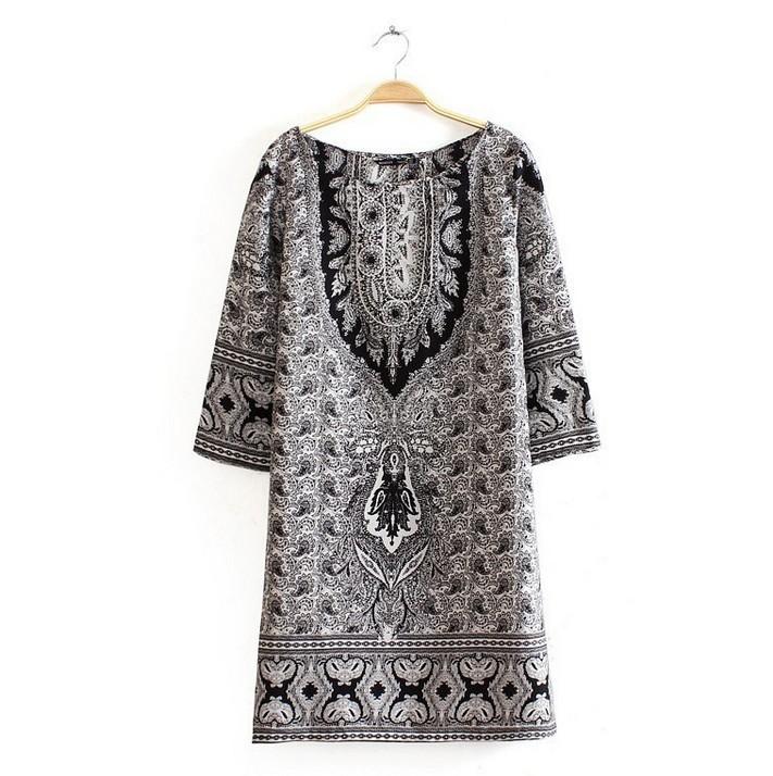 Hot Sale Vintage Summer Women Dress 2015 Casual Short Sleeve O-neck Print Chiffon Dresses Loose Desigual Robe Fashion Vestidos(China (Mainland))