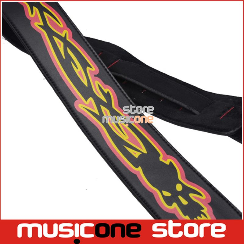 New FIRE design 2.7inch adjustable PU leather Acoustic Guitar Strap bass(China (Mainland))