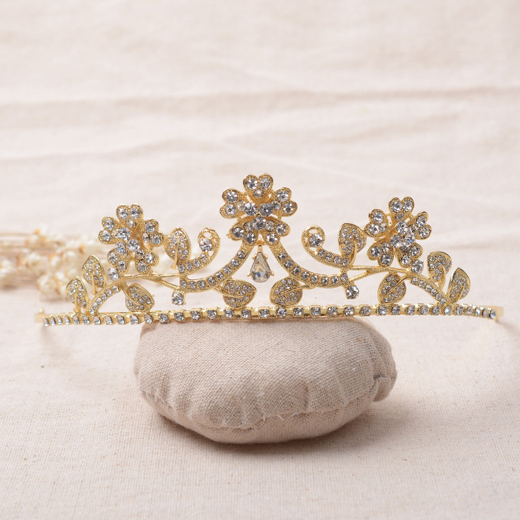 Crystal Tiara Bridal wedding Crown Gold plated czech diamond Leaf with flower women hairWear party Hair jewelry accessories(China (Mainland))