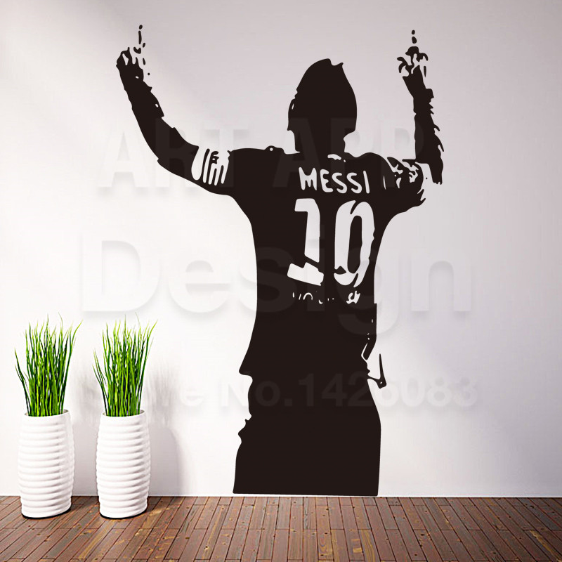 Art design cheap home decoration PVC football player Messi wall sticker removable vinyl house decor soccer sports decals in room(China (Mainland))