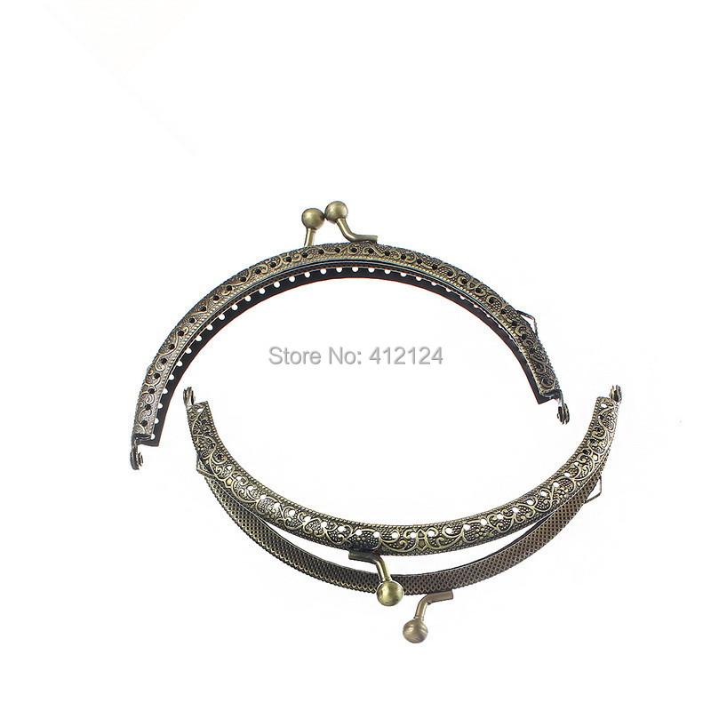 50Pcs Wholesale Bronze Tone Purse Bag Handbag Metal Frame Kiss Clasp Arch Pattern Handle Component 12.6cmx7.7cm(China (Mainland))