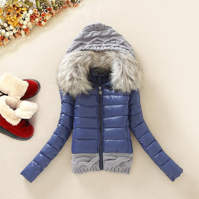 2015 New Women winter thickening with hood short design wadded jacket large fur collar down jacket cotton -padded outerwear ABC(China (Mainland))