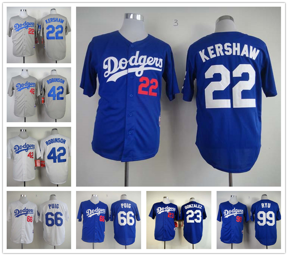 top quality Los Angeles Dodgers jersey 66 Yasiel Puig jerseys baseball 42 Jackie Robinson jersey blue gray white(China (Mainland))