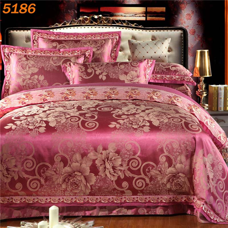 nordic silk bedding set tencel bed linens king queen bedspreads tribute Jacquard silk comforter cover silk/cotton sale 5186(China (Mainland))