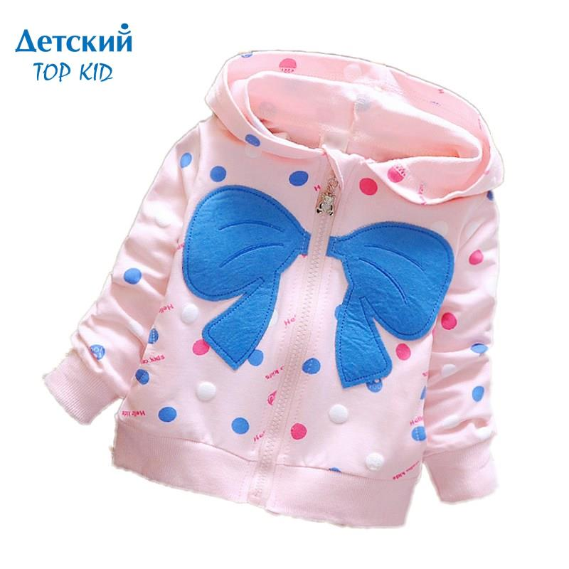 2016 spring new styles bows dots hooded 1-4T baby girls coats kids outerwear children jackets factory 639(China (Mainland))