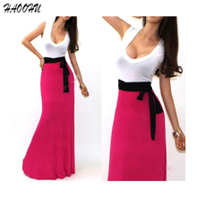 Free Shipping Casual Vestidos Women dresses 2015 Solid Sexy O-neck Sleeveless Halter Pleated Fashion Designs Maxi Dress 901 DX