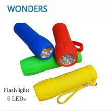 Potable Fasion Mini Flashlight Torch AAA 9 LEDs handy flash light LED mini Torch battery Lamp camping emergency light