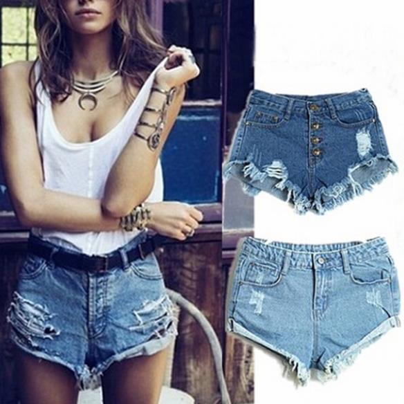 Hot Sale 4 Colors Denim Women Shorts Sexy Summer Hole Destroyed Shorts Jeans Plus Size High Waisted Jeans Short Feminino(China (Mainland))