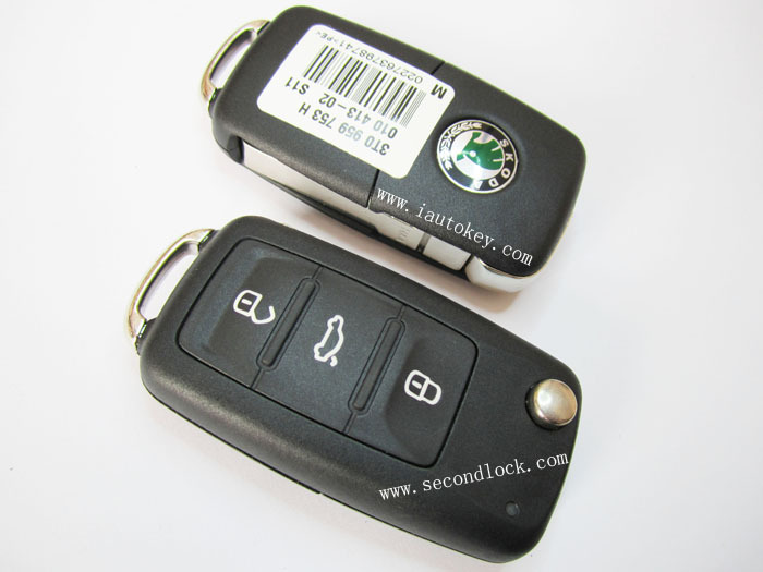 New Skoda 3 button remote key 434mhz : 3T0 959 753H(3T0 837 202H)(China (Mainland))