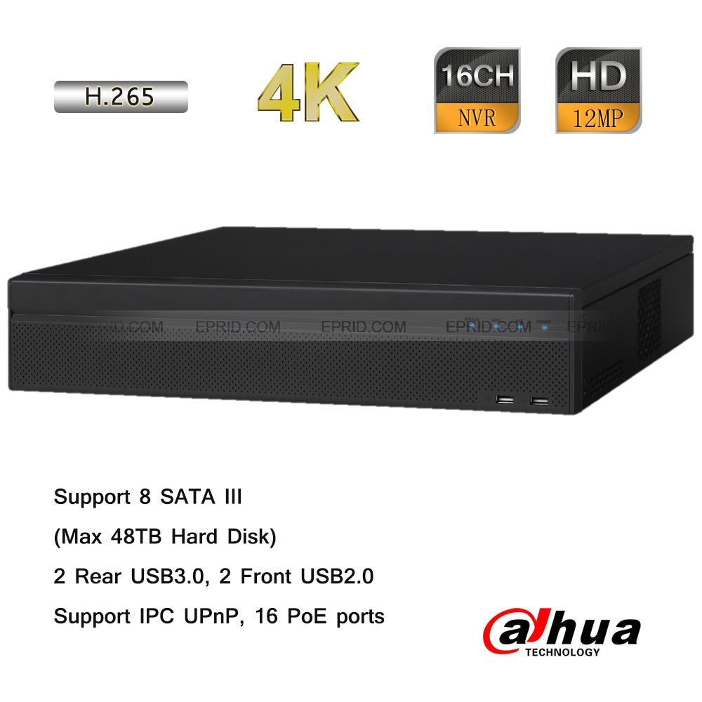 Dahua 16 Channel 4K NVR 16-Port POE 2U Case 48TB HDD Capacity Onvif 8MP 256Mbps<br><br>Aliexpress
