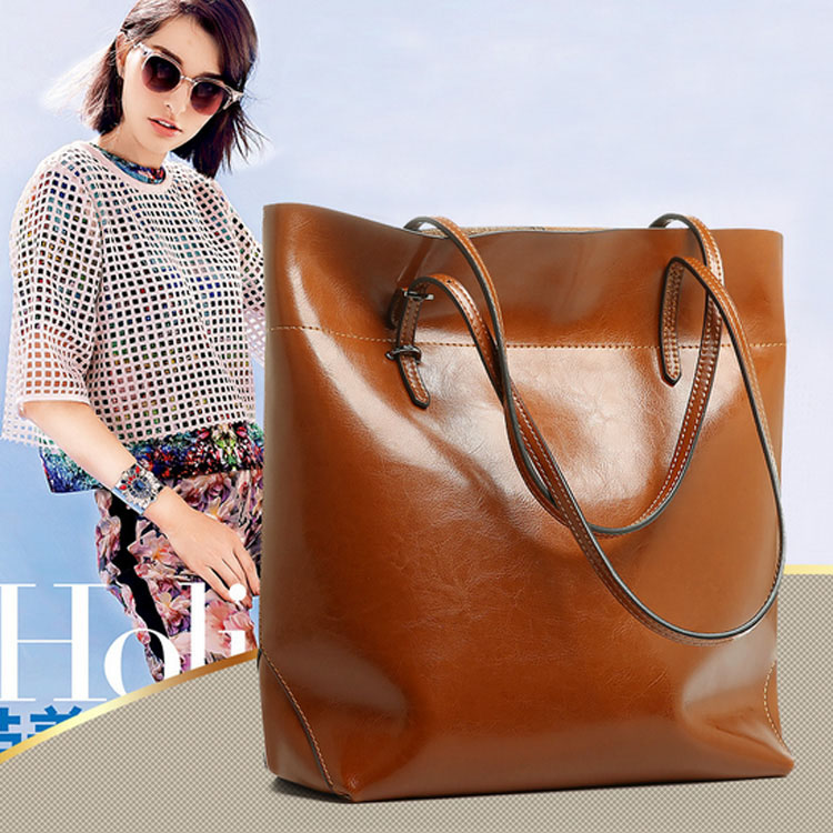 Fashion 2015 European and American style women big street shopping bags Ladies oil wax genuine cow leather shoulder bag Q0547<br><br>Aliexpress