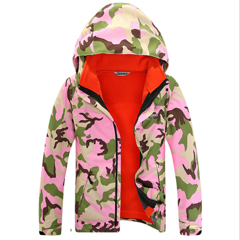 Фотография 2016 Fashion Boys Girls Fleece Ski Jackets Camouflage Hiking Camping Outdoor Wear Two Pieces Waterproof Windproof Ski Suit Hot