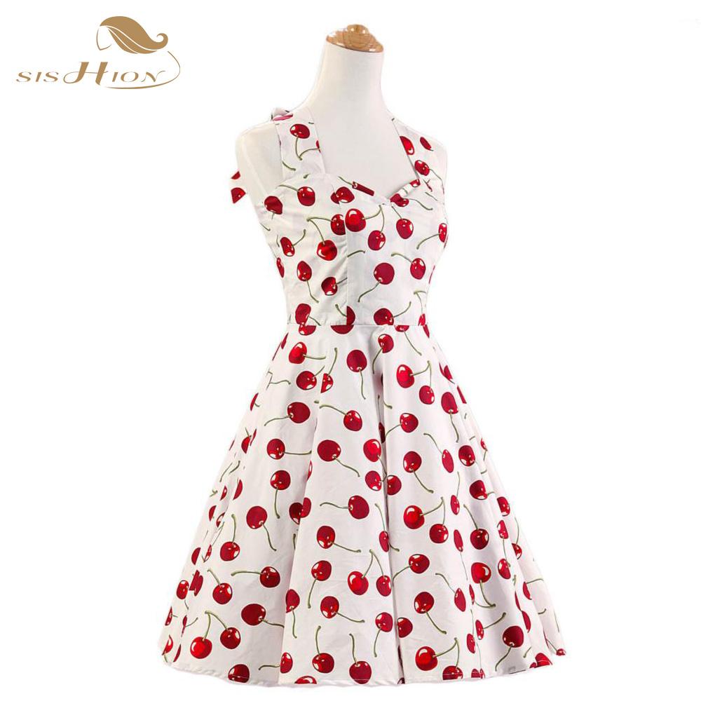Audrey hepburn Retro 50s 60s Dresses Knee Length Short Cherry Print Pattern Vintage Rockabilly Pin Up Women Dress VD0135(China (Mainland))