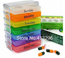 DHL Free Shipping 900PCS Colorful K1 Medicine Weekly Storage Pill 7 Day Tablet Sorter Box Container Case Organizer(China (Mainland))
