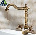 Antique Brass Basin Kitchen Faucet Swivel Spout w Dual Cross Handles Mixer Tap Deck Mounted