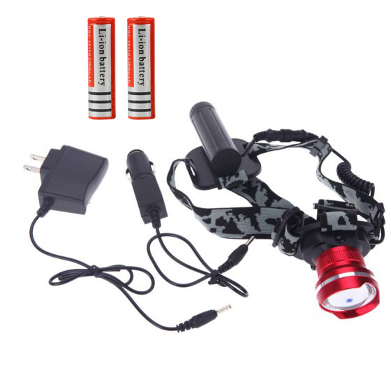 Brightness Outdoor Camping 4 Modes 2000Lm CREE XM-L T6 LED Zoomable Headlamp Headlight +2*18650 Battery + Charger + Car Charger