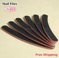 High Quality 5pcs Professional Grinding Tools Black Nail Files Buffer Buckling Slim Crescent Grit Sandpaper 100