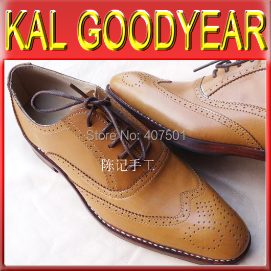 2015 New Style Top Fashion G012 Men Goodyear Welted Shoes Flats Handmade Bespoke Genuine Calfskin Tan Lace Up Casual Dress(China (Mainland))