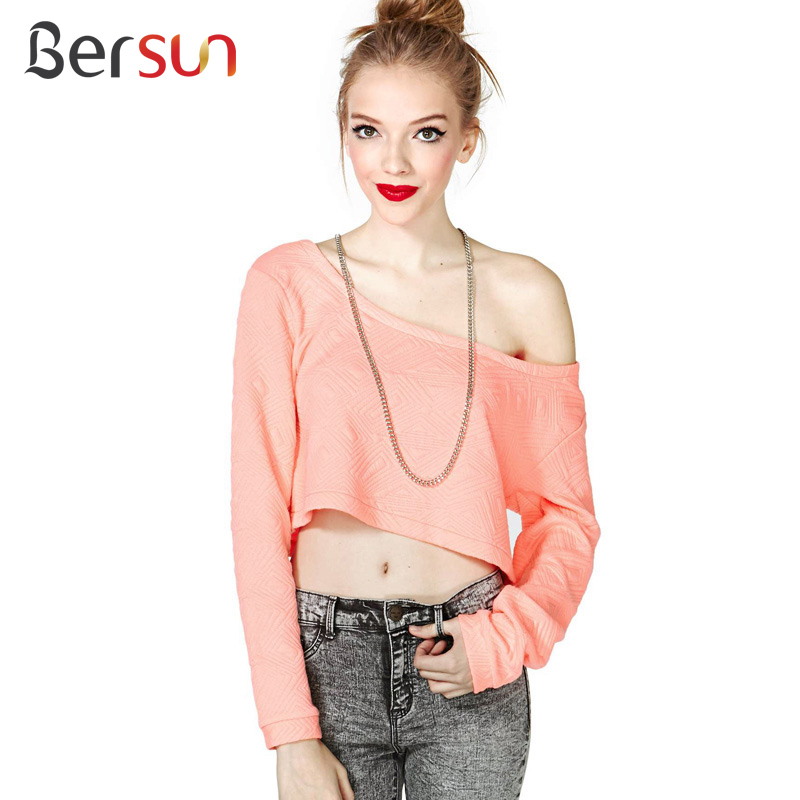 2015 Autumn Fashion Pink Long Sleeve T Shirt Womens Sexy Crop Tops Geometric Pattern Jacquard Casual Loose Strapless T-Shirt(China (Mainland))