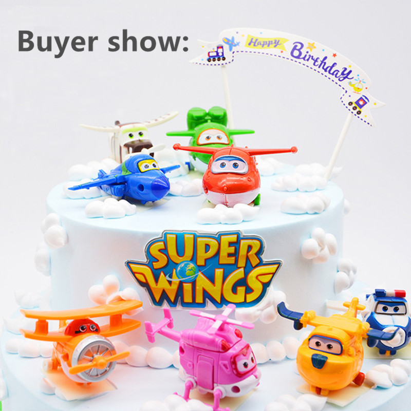 F50- 8pcs/lot Super Wings Mini Airplane ABS Robot toys Action Figures Super Wing Transformation Jet Animation Children Kids Gift(China (Mainland))