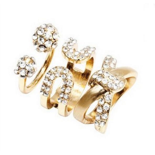 Shiny Crystal Gem Stack Gold Plain Band Midi Mid Finger Knuckle Ring Set Wedding Ring For Women