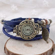 2014 New Fashion womens Leather Bracelet Watch Hand Knit Vintage Wrist Watch Bracelet Wristwatches Pendant for Gift YL*HM341#S8