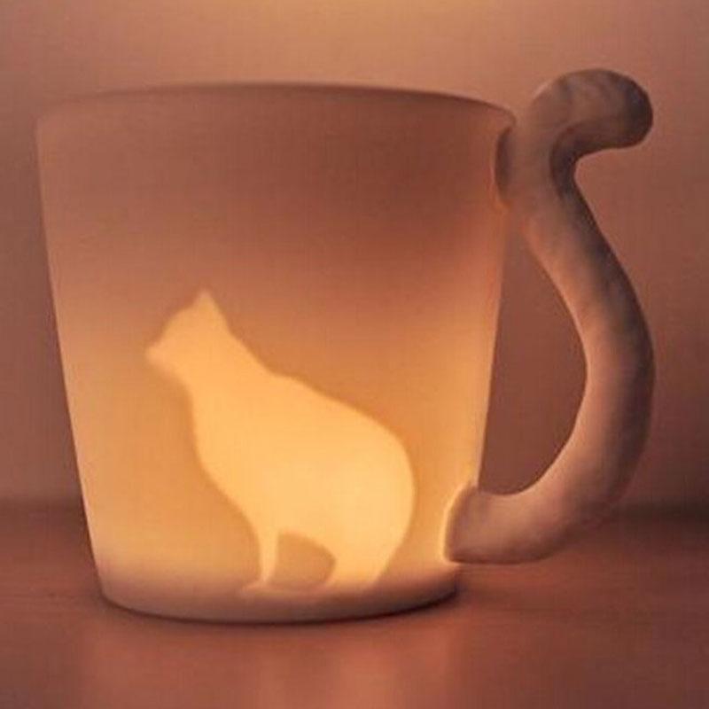 270ml Ceramic Candlestick Mug Cat Style Coffee Cup Cute Novelty Christmas Gift(China (Mainland))