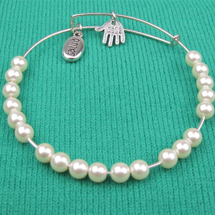 """America fashion style Peal bead """"hand made"""" Charm Bead Bangles Silver Plated Alloy Bracelets - Hi-Look store"""