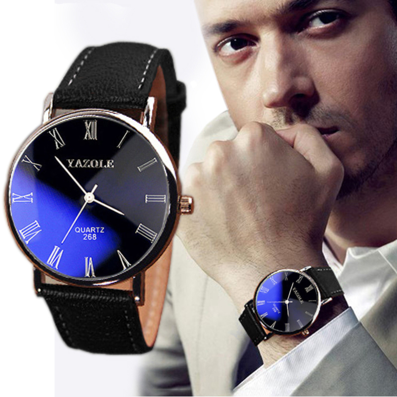 Splendid 2015 Luxury Fashion Faux Leather Dress Men Army Watch men Leather Quartz Analog Watch Watches