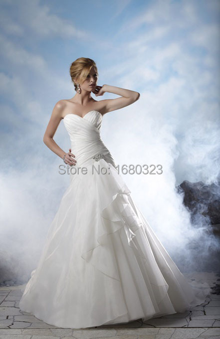 Long wedding dress under 100 sweetheart pleated organza for Long wedding dresses under 100