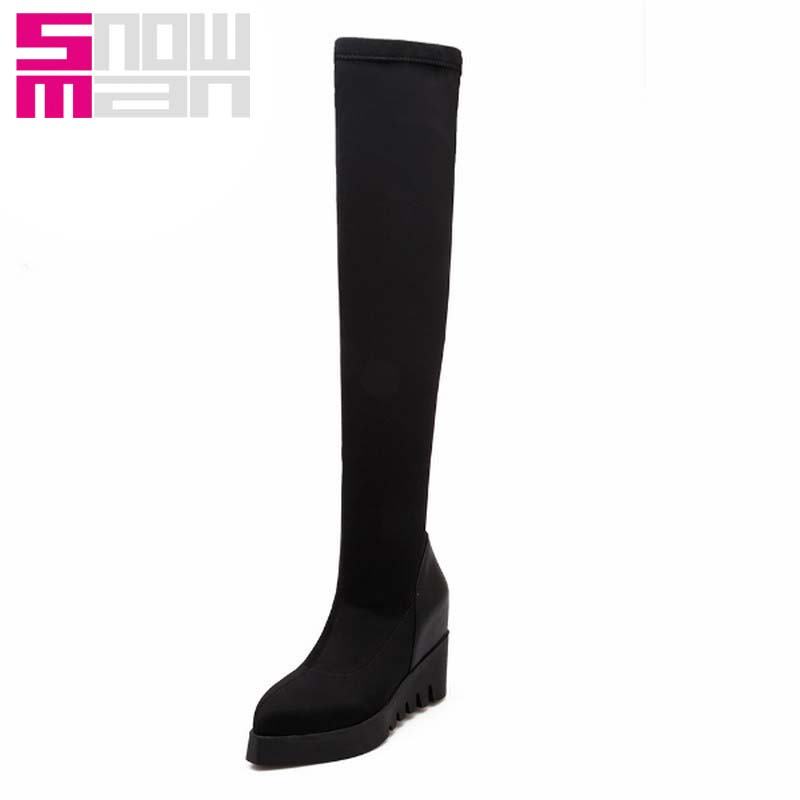 Sexy Pointed toe Slim Over the Knee Boots Hidden Wedges Long Boots Platform Autumn Winter Boots Zapatos Mujer 2015 Botas Brand
