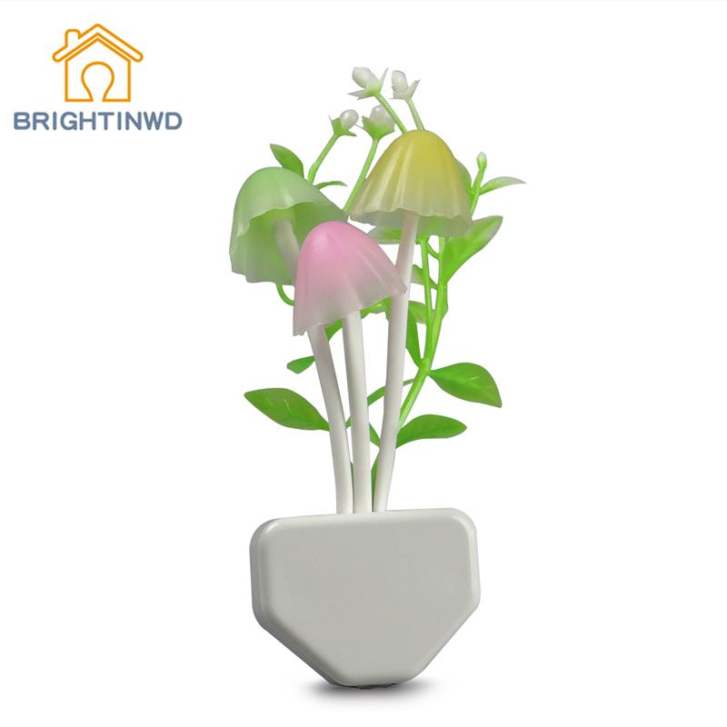 EU US Plug Mushroom Lamp Energy Saving Color Changing LED Sensor Night Lamp Light Green Plants on the Wall Night Light(China (Mainland))