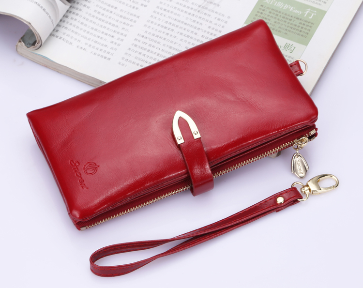 Гаджет  2014 new oil wax leather wallets vintage bag woman wallet brand women wallets purses and handbags clutch purses None Камера и Сумки