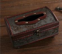 Free ship!Creative antique wooden tissue box / European-style hotel with a restaurant bar / retro leather drawn box paper (China (Mainland))