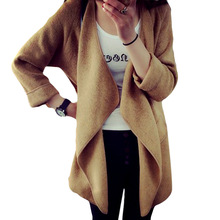2016 New Winter Women Knitted Cashmere Cardigan Sweater Long Solid Slim Asymmetry Long Sleeve Loose Warm Knit Cardigan Feminino (China (Mainland))