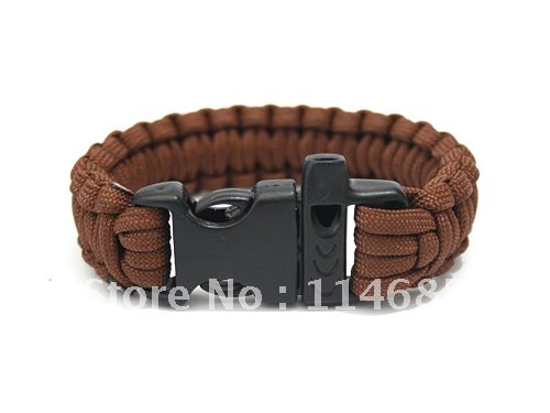 10pcs lot 550 Paracord survival bracelet With whistle Safe or color you choose(China (Mainland))