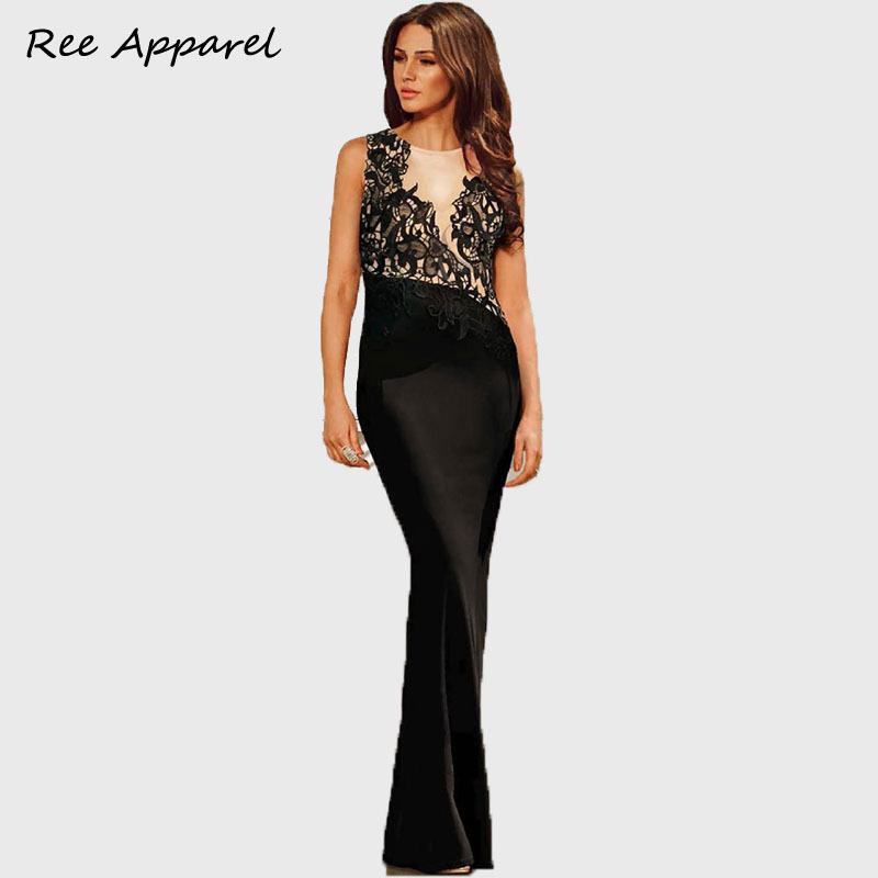 sexy long black lace dress Women floor vestidos sexy maxi dresses Elegant Brand drop shopping S-XL(China (Mainland))