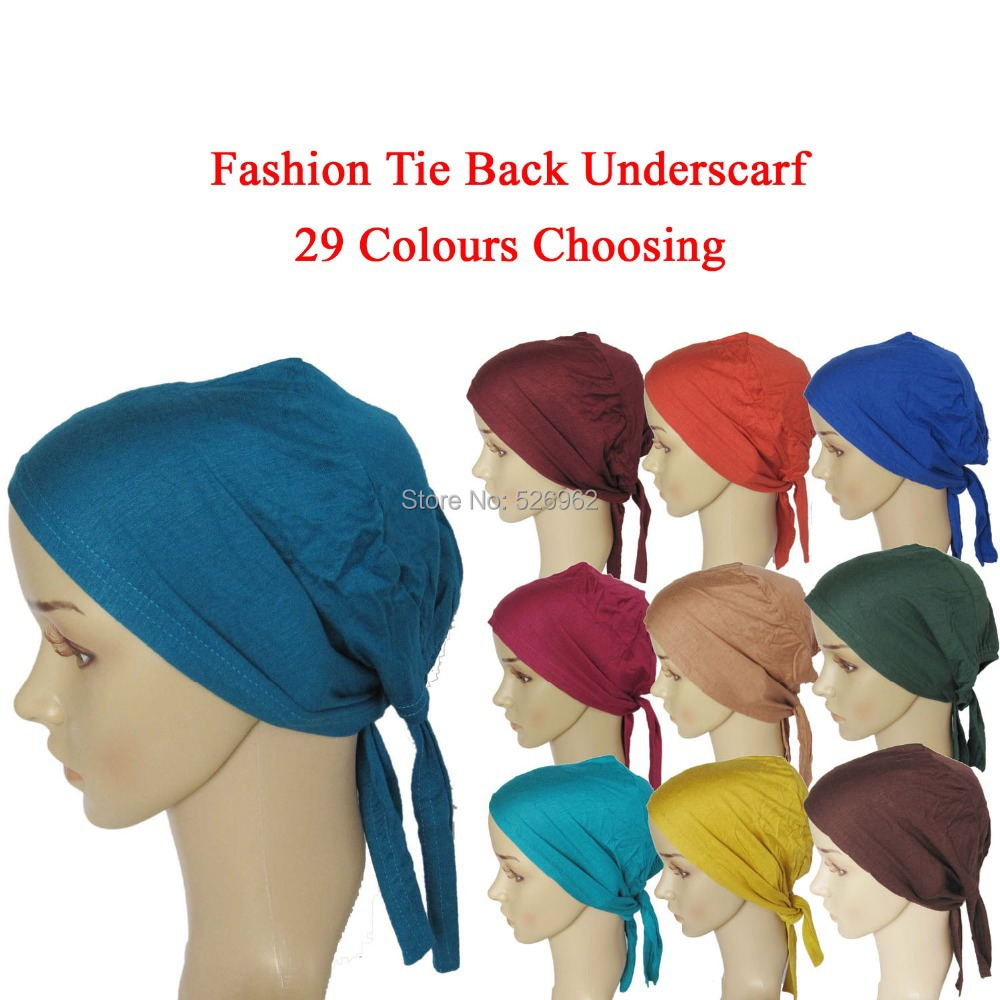 New Muslim Real Scarves Fashion 2015 Female Jersey Instant Islamic Tie Back Underscarf Hat Headband Hijab Caps Free Shipping (China (Mainland))