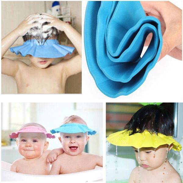 1PCS Wholesale Snap-Button Adjustable Baby Shampoo Cap Essential Bath Cap Bath Visor for Baby Children Kids Free Shipping(China (Mainland))