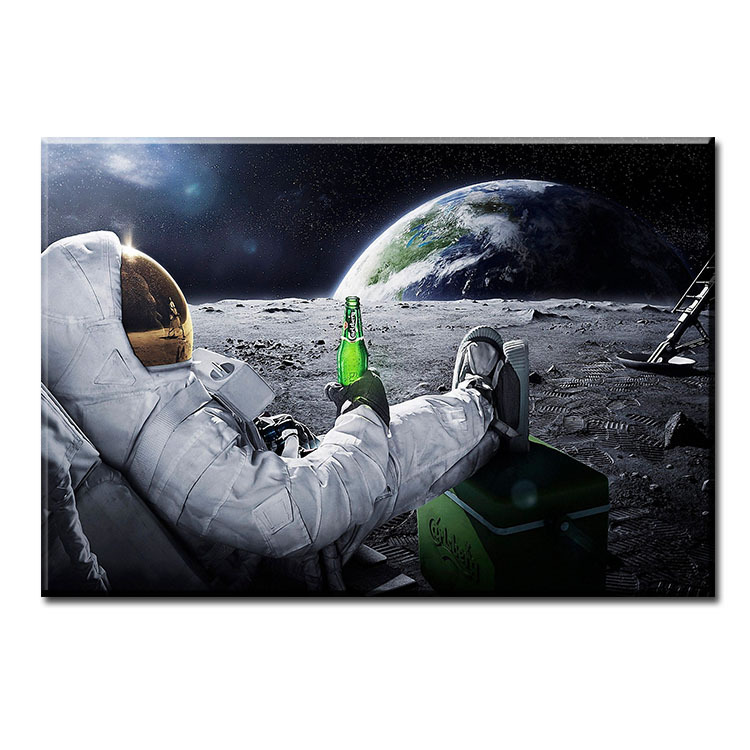 dp artisan space drinking on the moon wall painting print on canvas for home decor oil - Artisan Home Decor