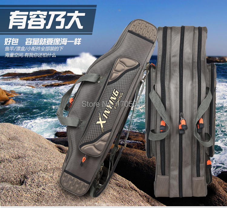 Three Layers fishing bag 80cm 90cm 100cm 120cm fishing tackle bag double layer fishing rod lure backpack pole bag for fishing(China (Mainland))