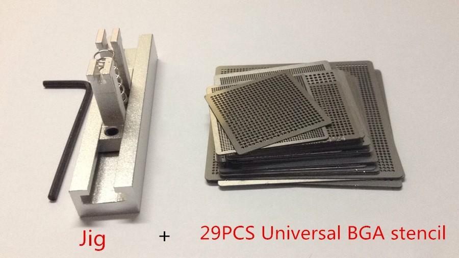 29pcs Universal Direct Heating BGA Stencils Templates + Reballing Jig For Chip Rework Repair Soldering Kit(China (Mainland))